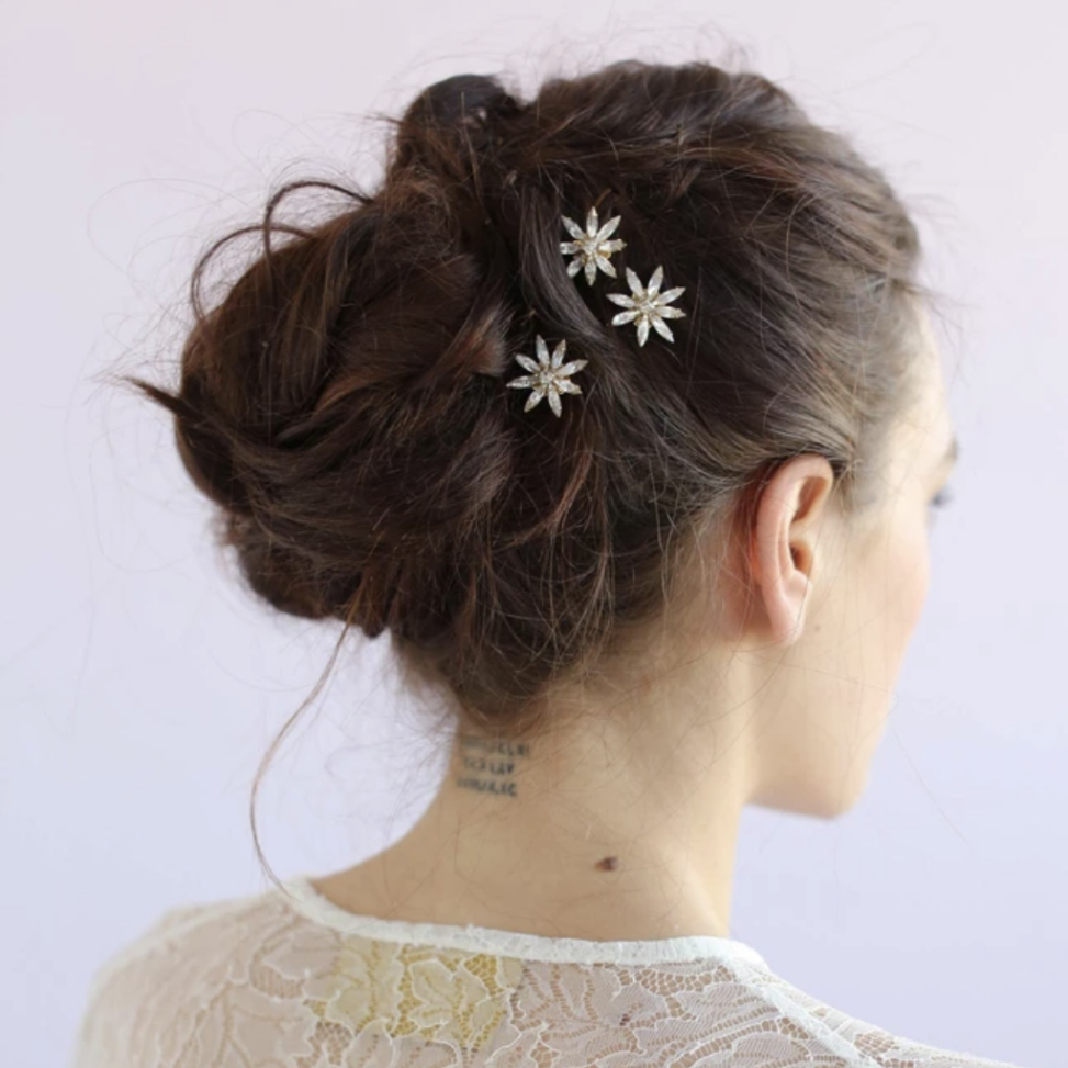Mini crystal starburst bobby pins wedding headpiece