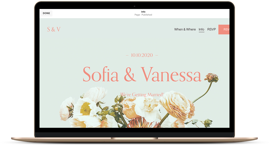 An example of a finished wedding website.