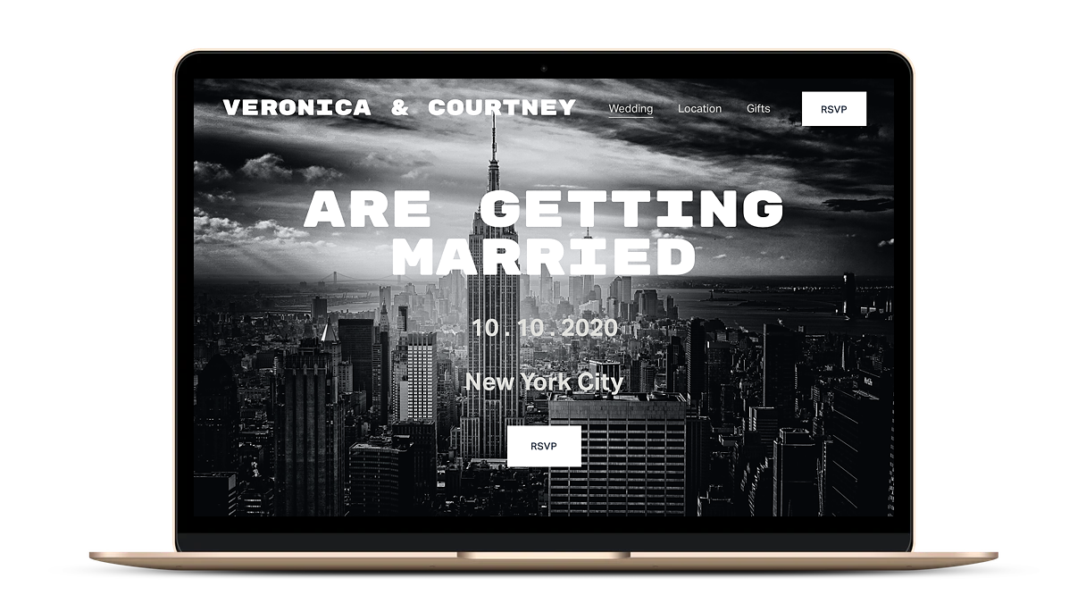 A sample wedding website template on Squarespace with a urban city look.