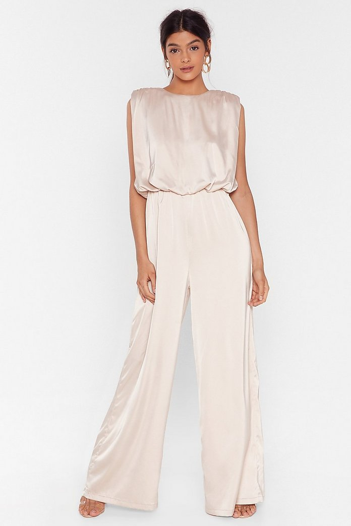 All satin fabric and this wedding jumpsuit feels as good as it looks.