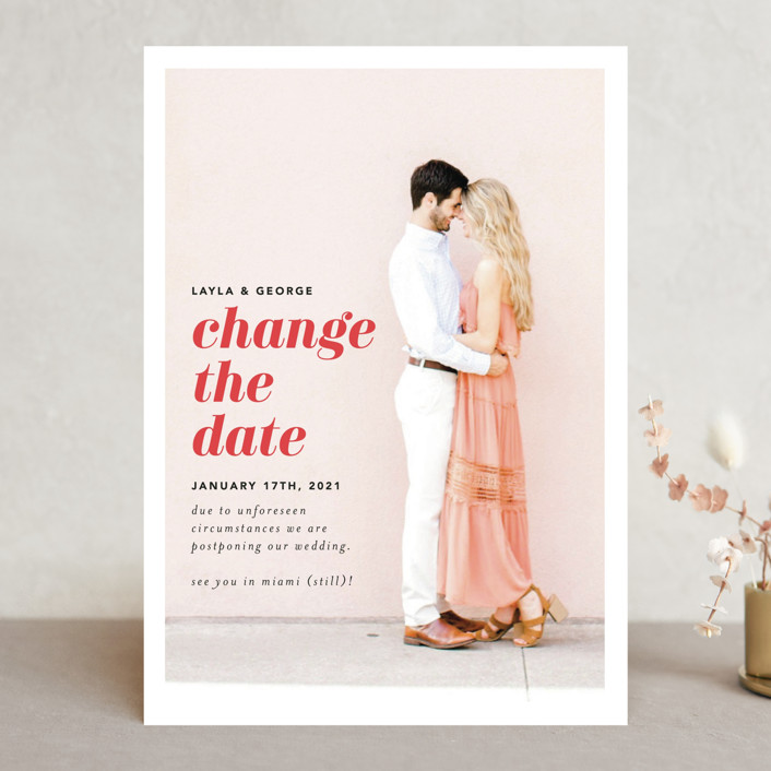 modern and simple change the date card with a couple embracing