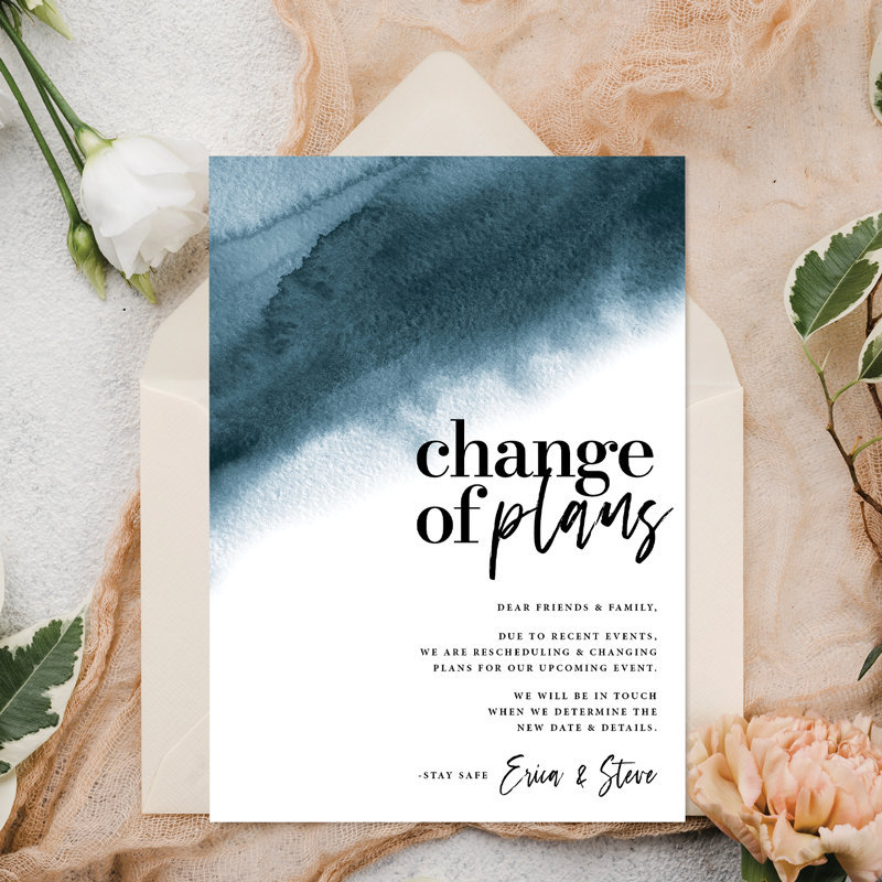 blue watercolor card that says change of plans