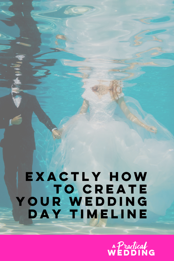 graphic that says: exactly how to create your wedding day timeline