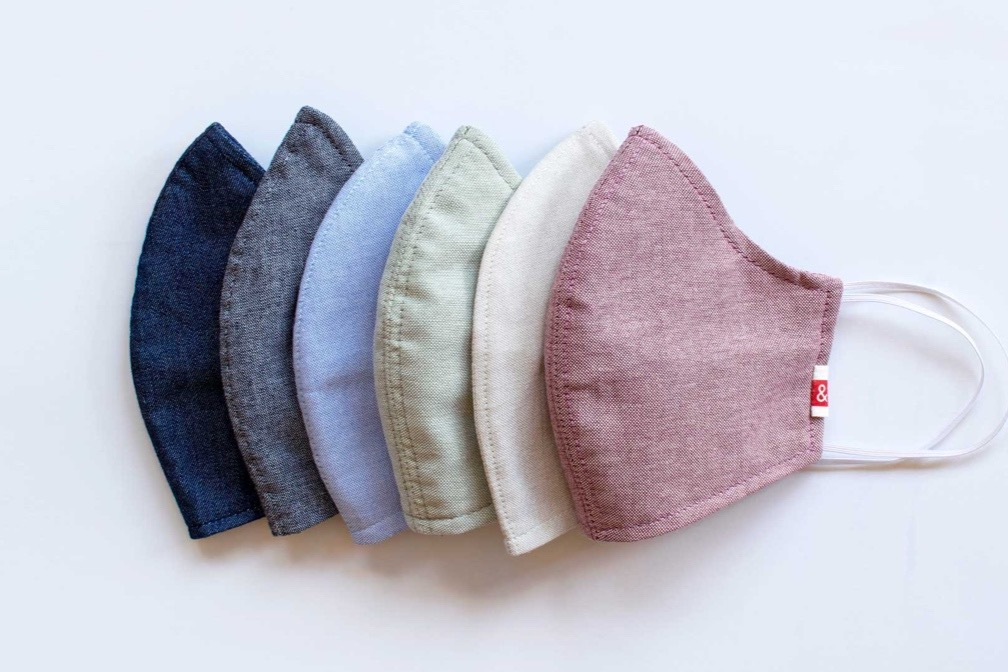 washed linen face masks in a variety of colors