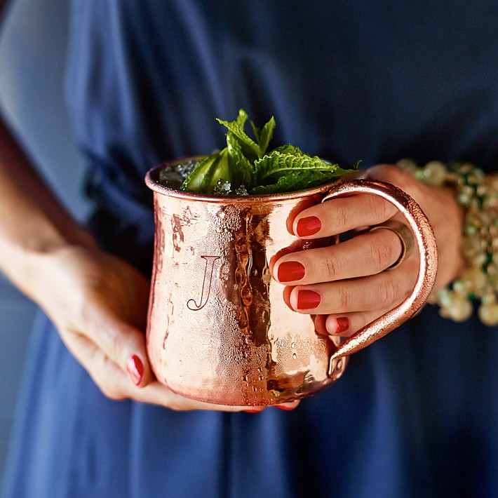monogrammed copper mugs make for great anniversary gifts