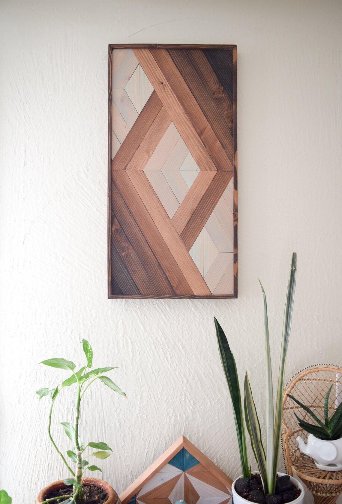 Multicolor pattern wood geometric wall art