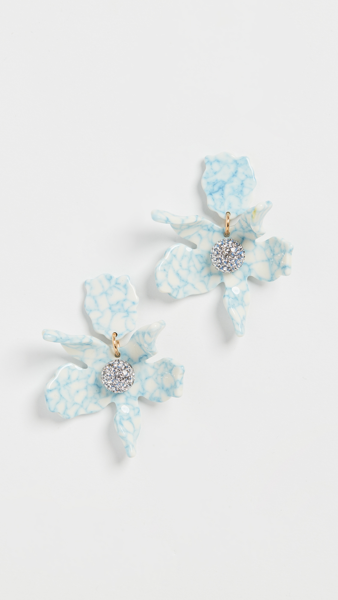 blue marble orchid flower shaped earrings with rhinestone centers