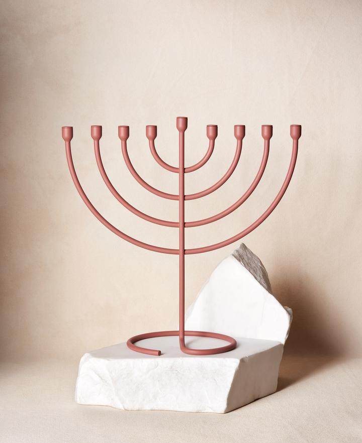 blush metal menorah