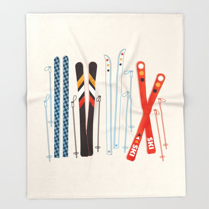 throw blanket printed with illustrated skis