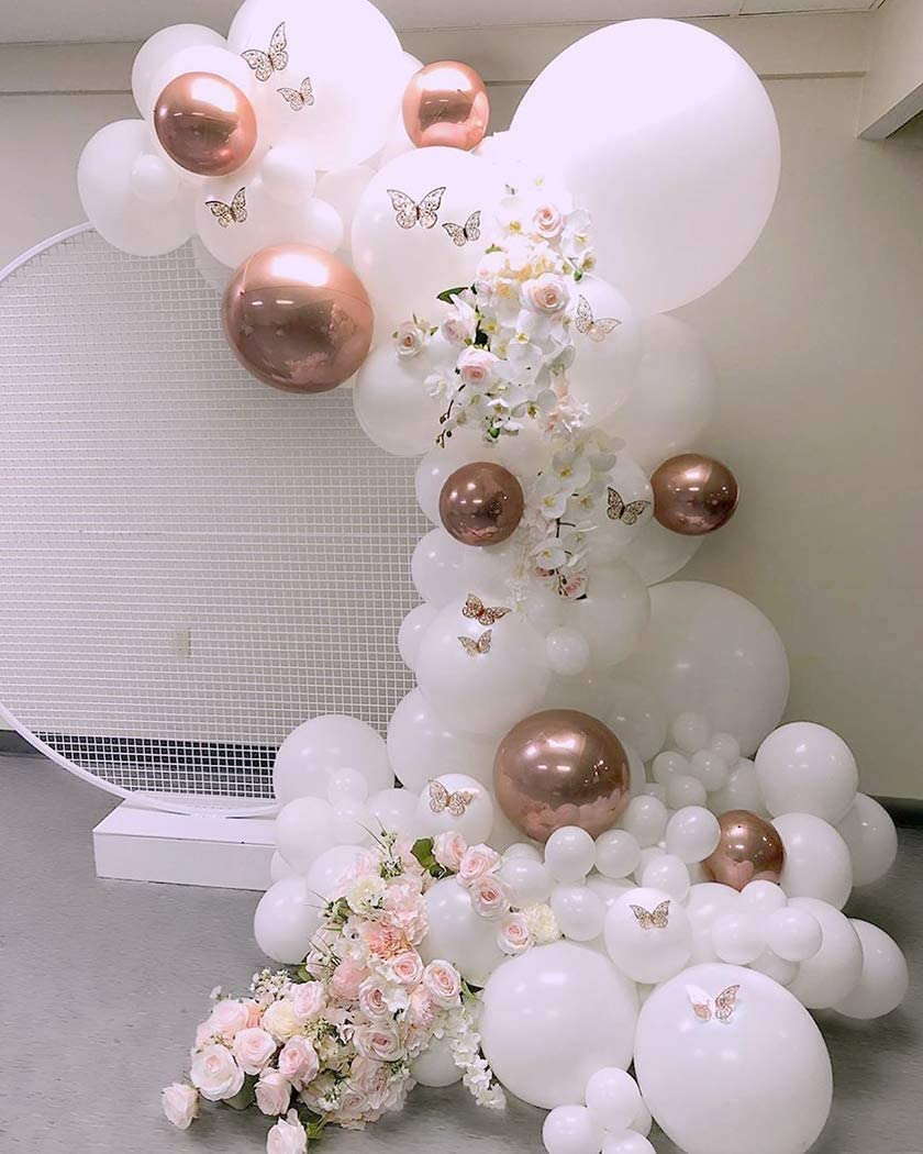 white and rose gold balloons