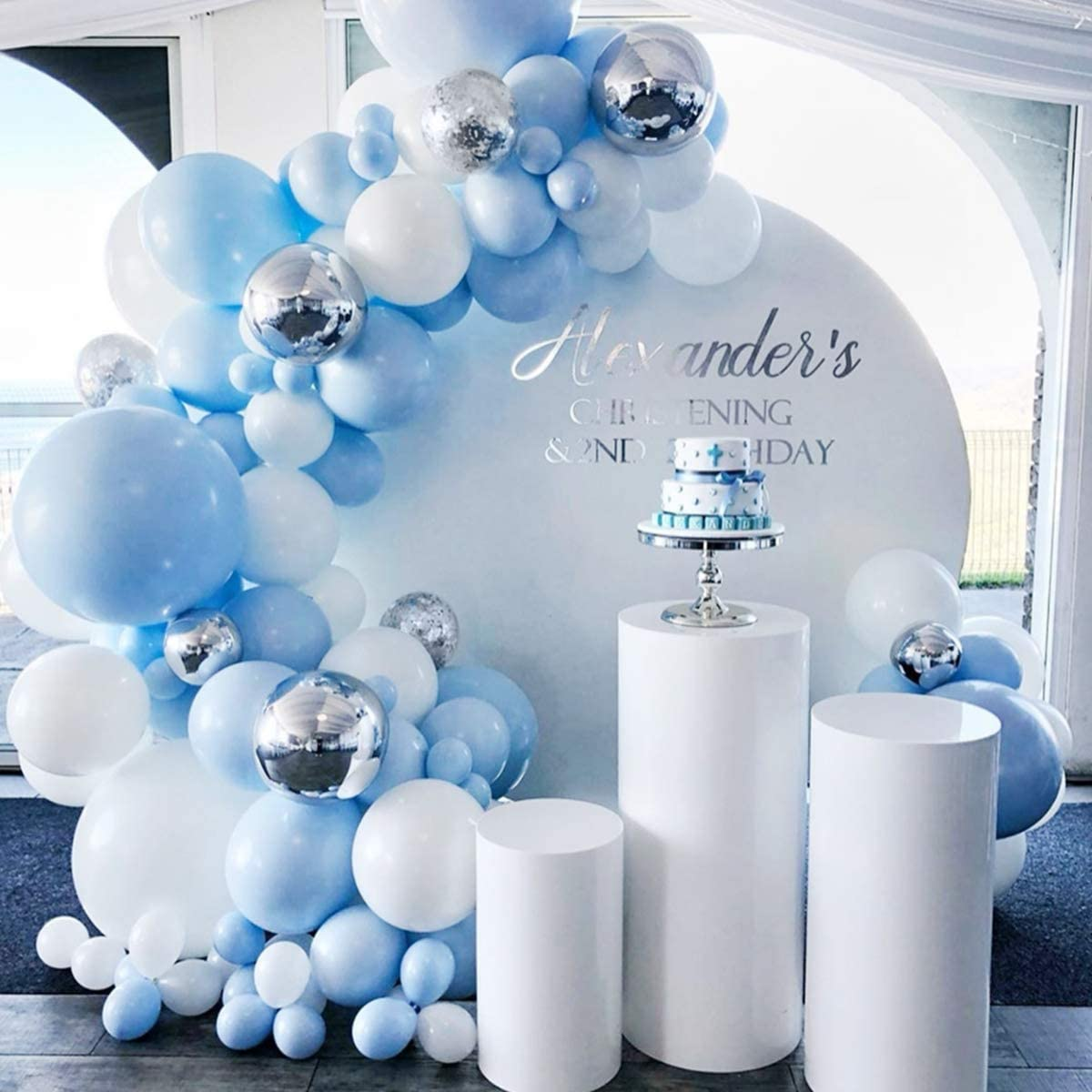 blue, white and silver balloons