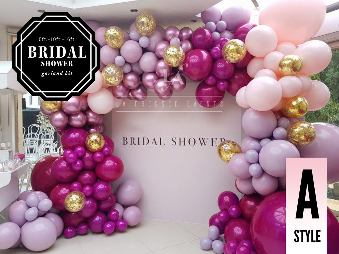pink, purple and gold balloon installation