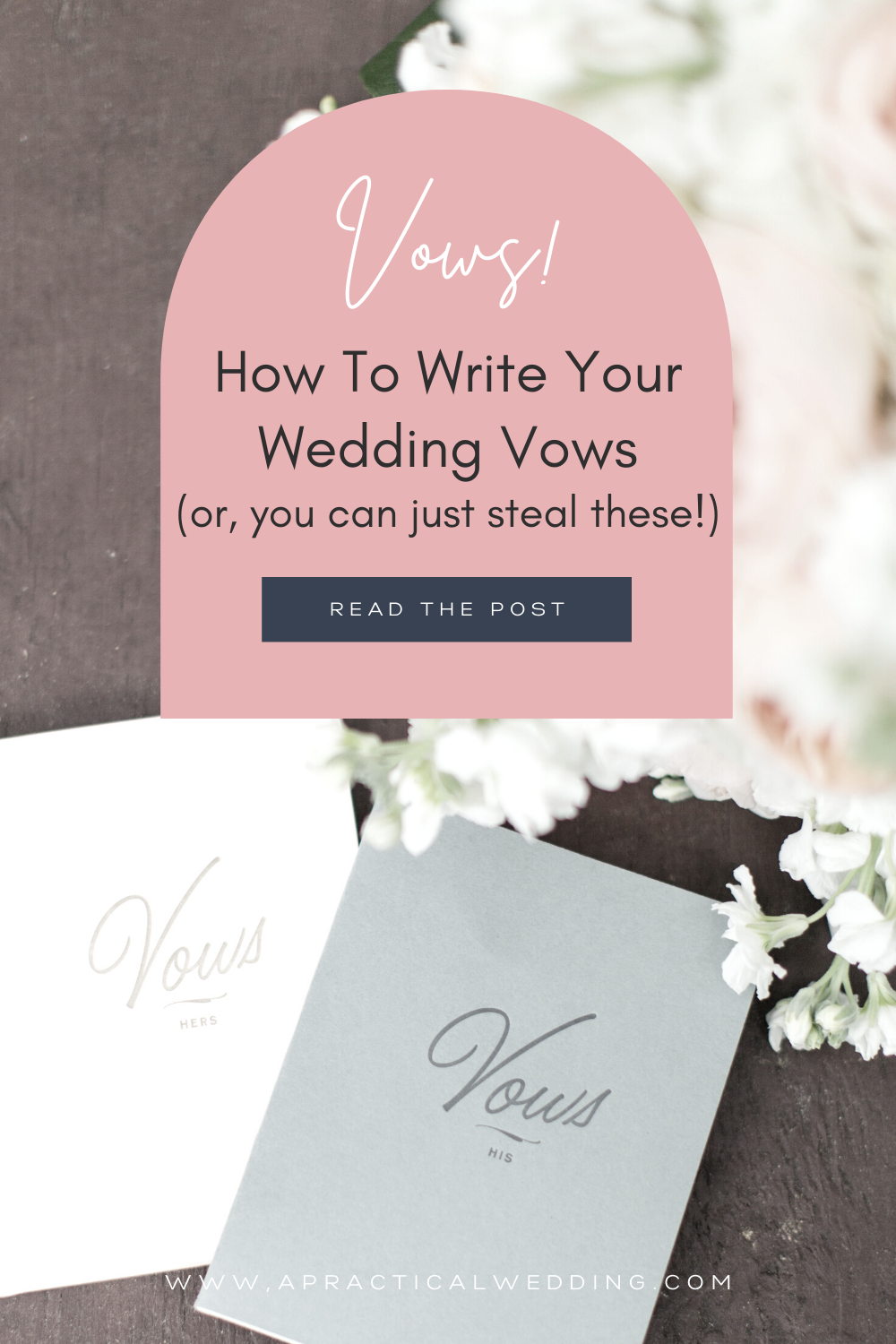 "Image of wedding vow books with text that says: ""Vows! How to write your wedding vows (or, you can just steal these!)"