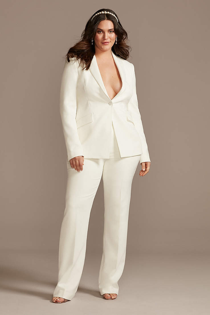 women's white pantsuit courthouse wedding outfit