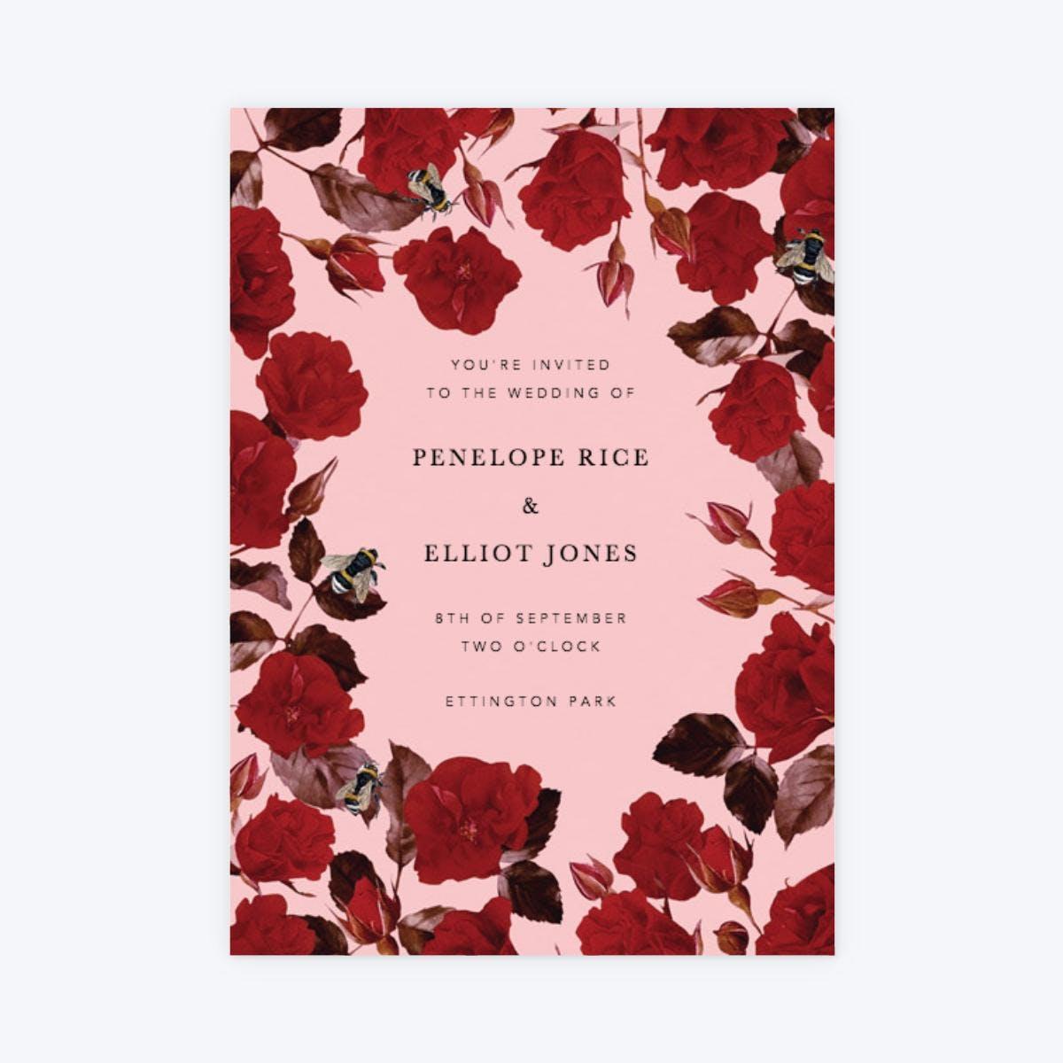 romantic red rose wedding invitation