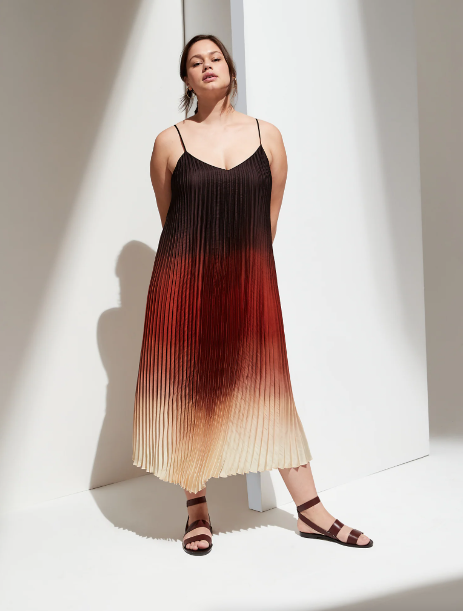 pleated ombre summer wedding guest dress