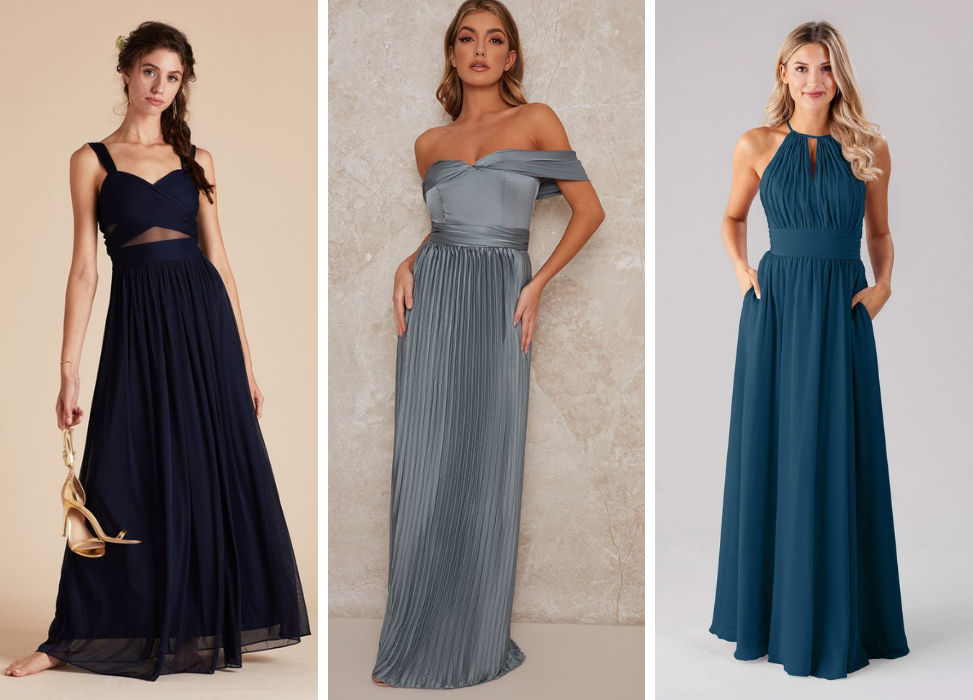 bridesmaid dresses in different shades of blue