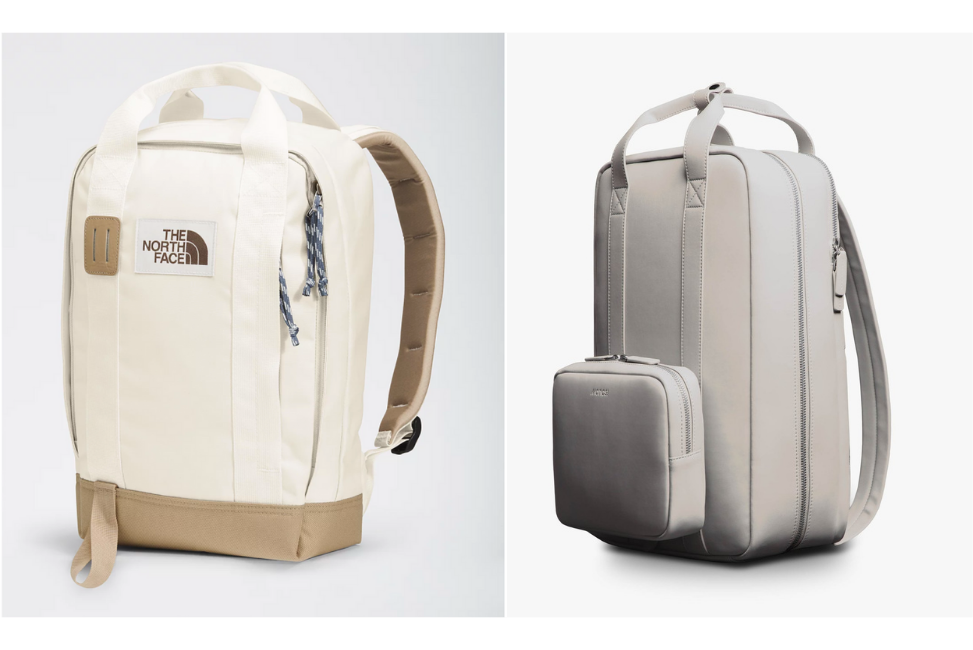 Light colored backpacks, perfect for carry-on travel