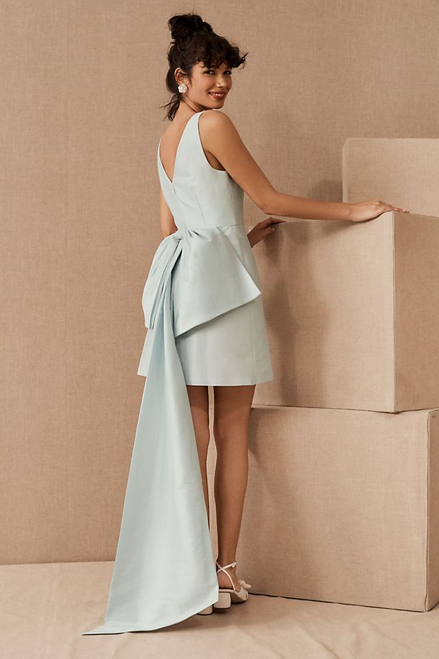 short light blue dress with statement bow on the back