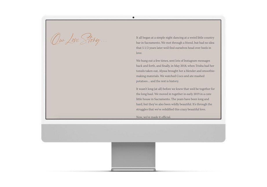 """Computer screen showing a wedding website with title """"our love story"""""""